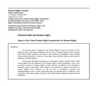 Mental Health and Human Rights: Report of the UN High Commissioner for Human Rights