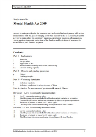 South Australian Mental Health Act 2009 (Version: 14.12.2017)